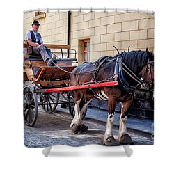 Horse And Cart Shower Curtain by Adrian Evans