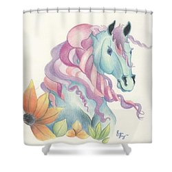 Horse Of A Different Colour Shower Curtain by Kirsten Slaney