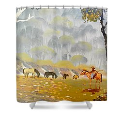 Horses Drinking In The Early Morning Mist Shower Curtain by Pamela  Meredith