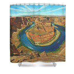 Horseshoe Bend Colorado River Arizona Shower Curtain by Richard Harpum