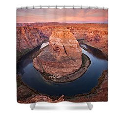 Horseshoe Dawn Shower Curtain by Mike  Dawson