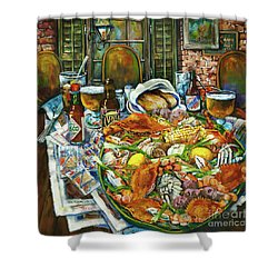 Hot Boiled Crabs Shower Curtain by Dianne Parks