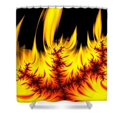 Hot Orange And Yellow Fractal Fire Shower Curtain by Matthias Hauser