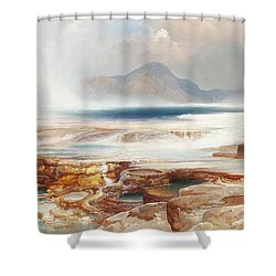 Hot Springs Of Yellowstone Shower Curtain by Thomas Moran