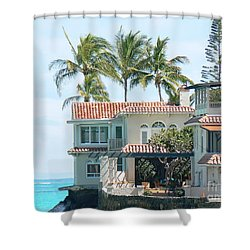 House At Land's End Shower Curtain by Dona  Dugay