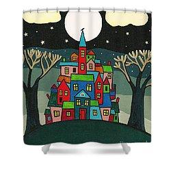House Of The Crow Shower Curtain by Margaryta Yermolayeva