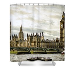 Houses Of Parliament On The Thames Shower Curtain by Heather Applegate