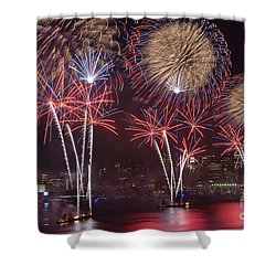 Hudson River Fireworks Viii Shower Curtain by Clarence Holmes