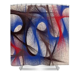 Hues Of Blue Shower Curtain by Marian Palucci-Lonzetta