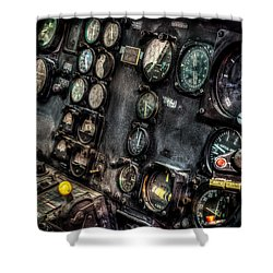 Huey Instrument Panel 2 Shower Curtain by David Morefield