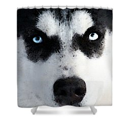 Husky Dog Art - Bat Man Shower Curtain by Sharon Cummings