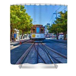 Hyde Street Trolley Shower Curtain by Scott Campbell