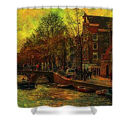 I Amsterdam. Vintage Amsterdam In Golden Light Shower Curtain by Jenny Rainbow