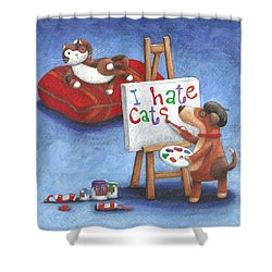 I Hate Cats Shower Curtain by Peter Adderley