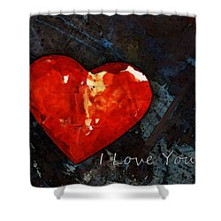 I Just Love You - Red Heart Romantic Art Shower Curtain by Sharon Cummings