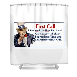 I Need You In The Navy - Uncle Sam Wwi Shower Curtain by War Is Hell Store