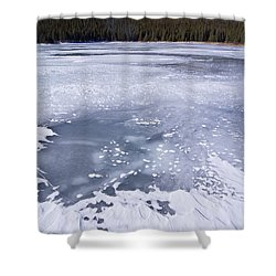 Ice And Snow Of Brainard Lake Shower Curtain by Benjamin Reed