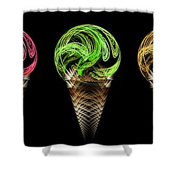 Ice Cream Cones 5 Flavors Shower Curtain by Andee Design