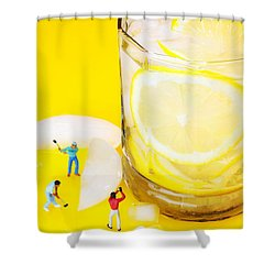 Ice Making For Lemonade Little People On Food Shower Curtain by Paul Ge