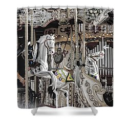 Ice On My Carousel Shower Curtain by Evie Carrier