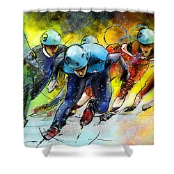 Ice Speed Skating 01 Shower Curtain by Miki De Goodaboom