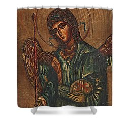 Icon Of Archangel Michael - Painting On The Wood Shower Curtain by Nenad Cerovic