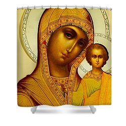Icon Of The Virgin Kazanskaya Shower Curtain by Dmitrii Smirnov