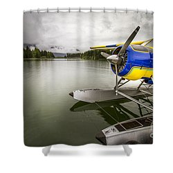 Idle Float Plane At Juneau Airport Shower Curtain by Darcy Michaelchuk