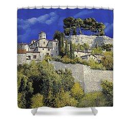 Il Villaggio In Blu Shower Curtain by Guido Borelli