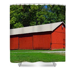 Illinois Red Barn Shower Curtain by Luther   Fine Art