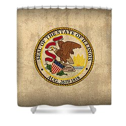 Illinois State Flag Art On Worn Canvas Shower Curtain by Design Turnpike