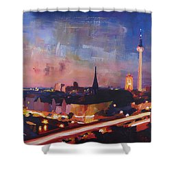 Illuminated Berlin Skyline At Dusk  Shower Curtain by M Bleichner