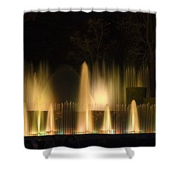 Illuminated Dancing Fountains Shower Curtain by Sally Weigand