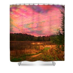 Impressionistic Morning View Of West Virginia Botanic Garden Shower Curtain by Dan Friend