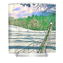 Impressions Of A Snow Covered Farm Shower Curtain by John Haldane