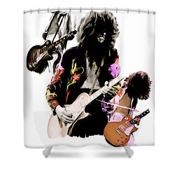 In Flight Iv Jimmy Page  Shower Curtain by Iconic Images Art Gallery David Pucciarelli