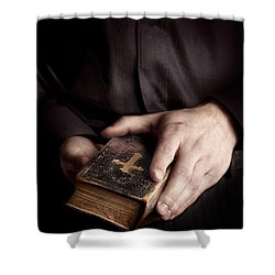 In His Hands Shower Curtain by Margie Hurwich