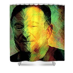 In Memory Of Robin Williams Shower Curtain by Ally  White