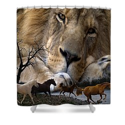 In The Presence Of Elohim Shower Curtain by Bill Stephens