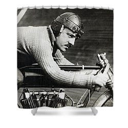 In The Wind On An Indian Motorcycle - 1913 Shower Curtain by Daniel Hagerman
