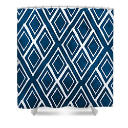 Indgo And White Diamonds Large Shower Curtain by Linda Woods