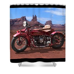 Indian 4 Sidecar 2 Shower Curtain by Mike McGlothlen