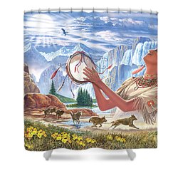 Indian Squaw And The Wolves Shower Curtain by Steve Crisp
