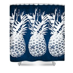 Indigo And White Pineapples Shower Curtain by Linda Woods
