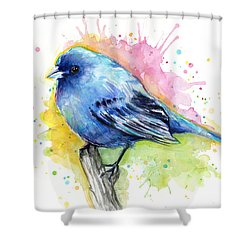 Indigo Bunting Blue Bird Watercolor Shower Curtain by Olga Shvartsur