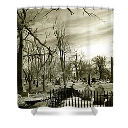 Infrared Cemetery Shower Curtain by Gothicolors Donna Snyder