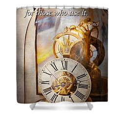 Inspirational - Time - A Look Back In Time - Da Vinci Shower Curtain by Mike Savad