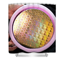 Shower Curtain featuring the photograph Integrated Circuits On Silicon Wafer by Science Source