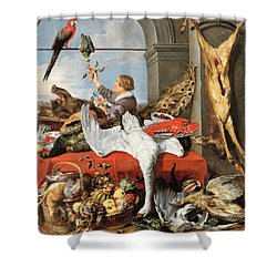 Interior Of An Office, Or Still Life With Game, Poultry And Fruit, C.1635 Oil On Canvas Shower Curtain by Frans Snyders or Snijders
