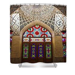 Interior Of The Winter Prayer Hall Of The Nazir Ul Mulk Mosque In Shiraz Iran Shower Curtain by Robert Preston